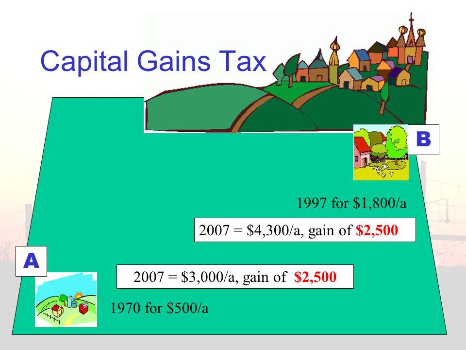 A B 1970 for $500/a 1997 for $1,800/a 2007 = $3,000/a, gain of $2,500 Capital Gains Tax 2007 = $4,300/a, gain of $2,500