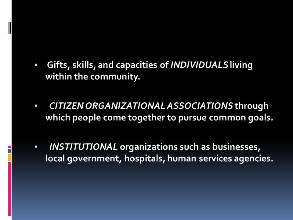 Gifts, skills, and capacities of INDIVIDUALS living within the community. CITIZEN ORGANIZATIONAL ASSOCIATIONS through which people come together to pu