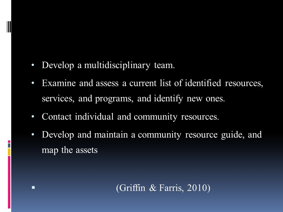 Develop a multidisciplinary team. Examine and assess a current list of identified resources, services, and programs, and identify new ones. Contact in