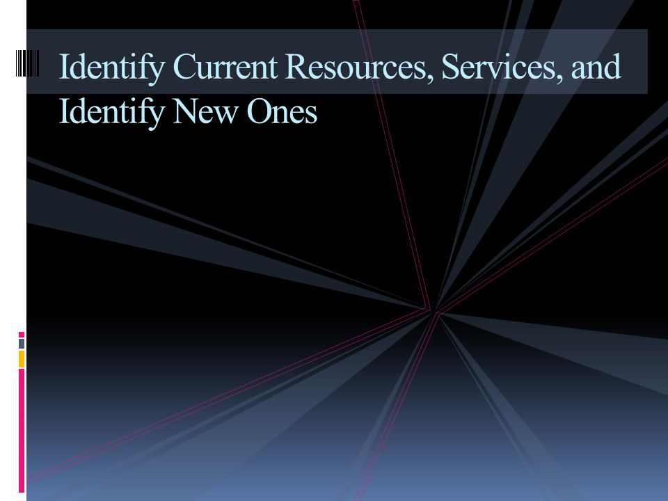 Identify Current Resources, Services, and Identify New Ones