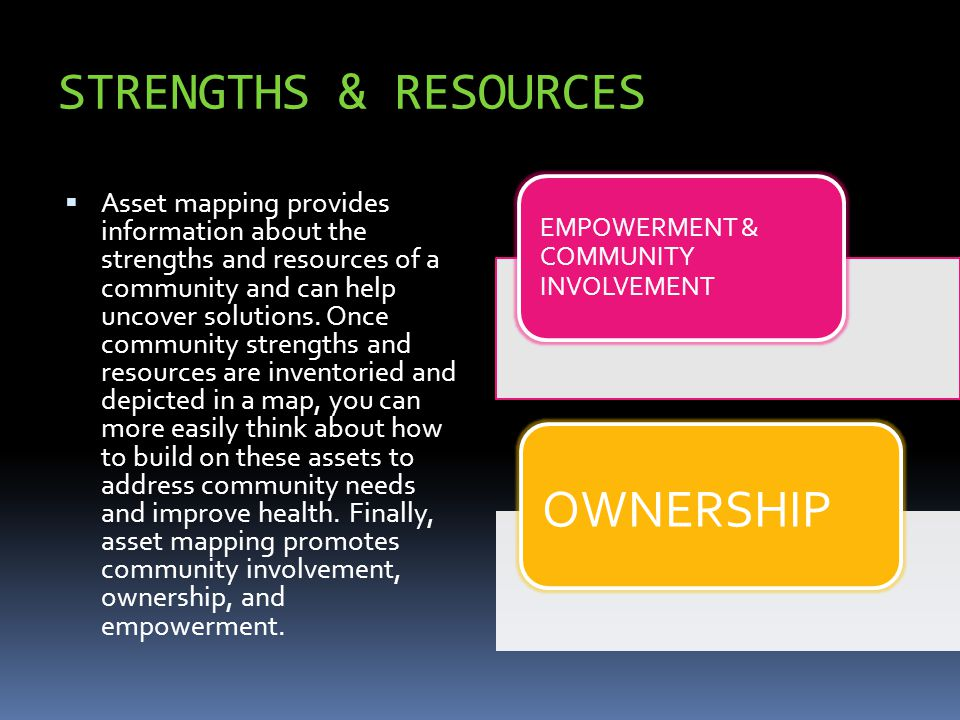 STRENGTHS & RESOURCES  Asset mapping provides information about the strengths and resources of a community and can help uncover solutions. Once commu