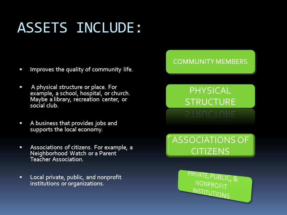 ASSETS INCLUDE:  Improves the quality of community life.