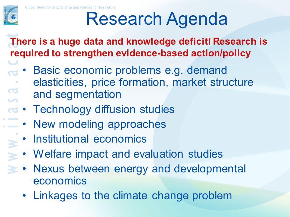 Research Agenda Basic economic problems e.g.