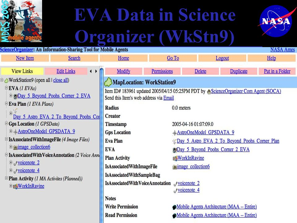 EVA Data in Science Organizer (WkStn9)