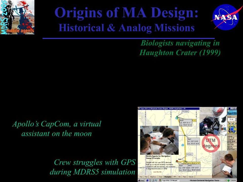 Origins of MA Design: Historical & Analog Missions Apollo's CapCom, a virtual assistant on the moon Biologists navigating in Haughton Crater (1999) Crew struggles with GPS during MDRS5 simulation