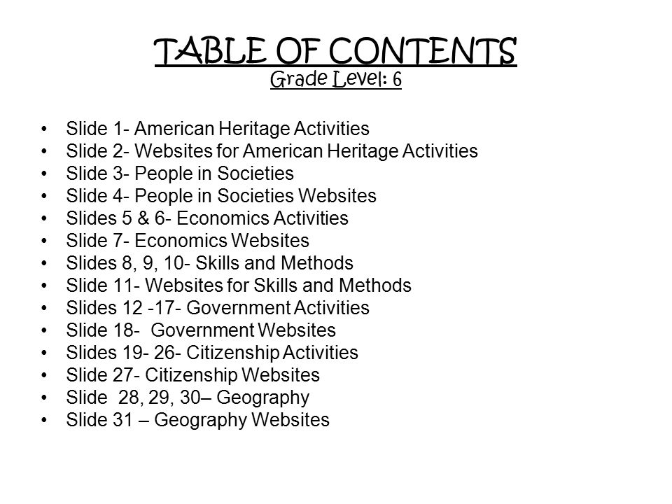 TABLE OF CONTENTS Grade Level: 6 Slide 1- American Heritage Activities Slide 2- Websites for American Heritage Activities Slide 3- People in Societies