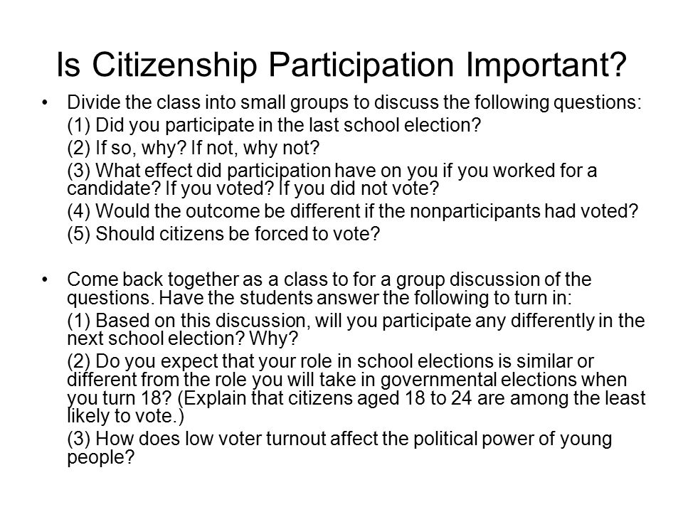 Is Citizenship Participation Important? Divide the class into small groups to discuss the following questions: (1) Did you participate in the last sch