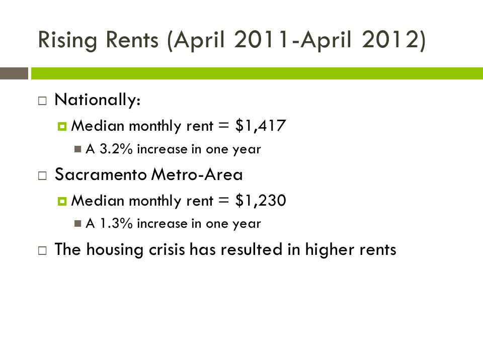 Rising Rents (April 2011-April 2012)  Nationally:  Median monthly rent = $1,417 A 3.2% increase in one year  Sacramento Metro-Area  Median monthly