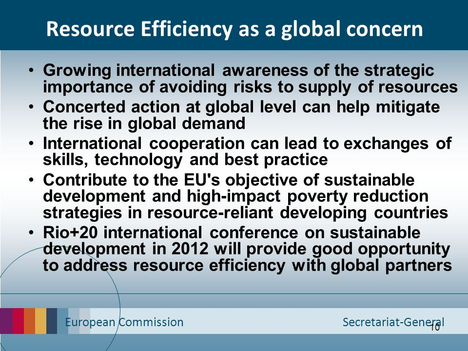 European Commission Secretariat-General 10 Resource Efficiency as a global concern Growing international awareness of the strategic importance of avoi