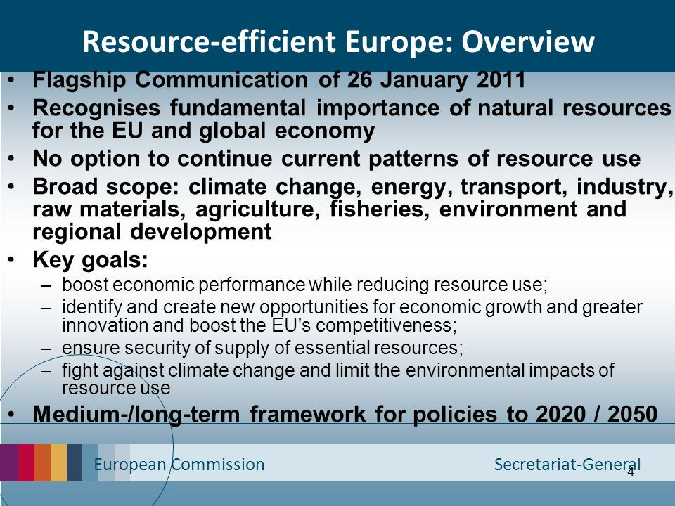 European Commission Secretariat-General 4 Resource-efficient Europe: Overview Flagship Communication of 26 January 2011 Recognises fundamental importa