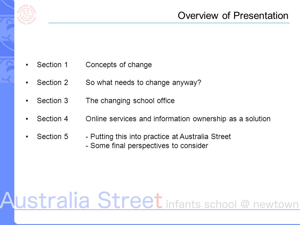 Section 1Concepts of change Section 2So what needs to change anyway.
