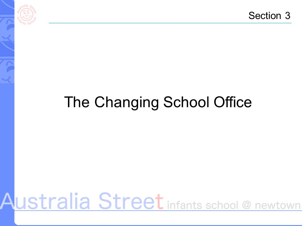 The Changing School Office Section 3