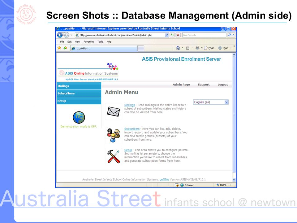 Screen Shots :: Database Management (Admin side)