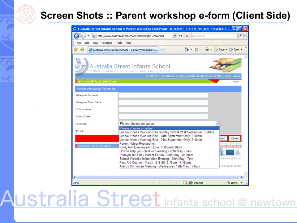 Screen Shots :: Parent workshop e-form (Client Side)