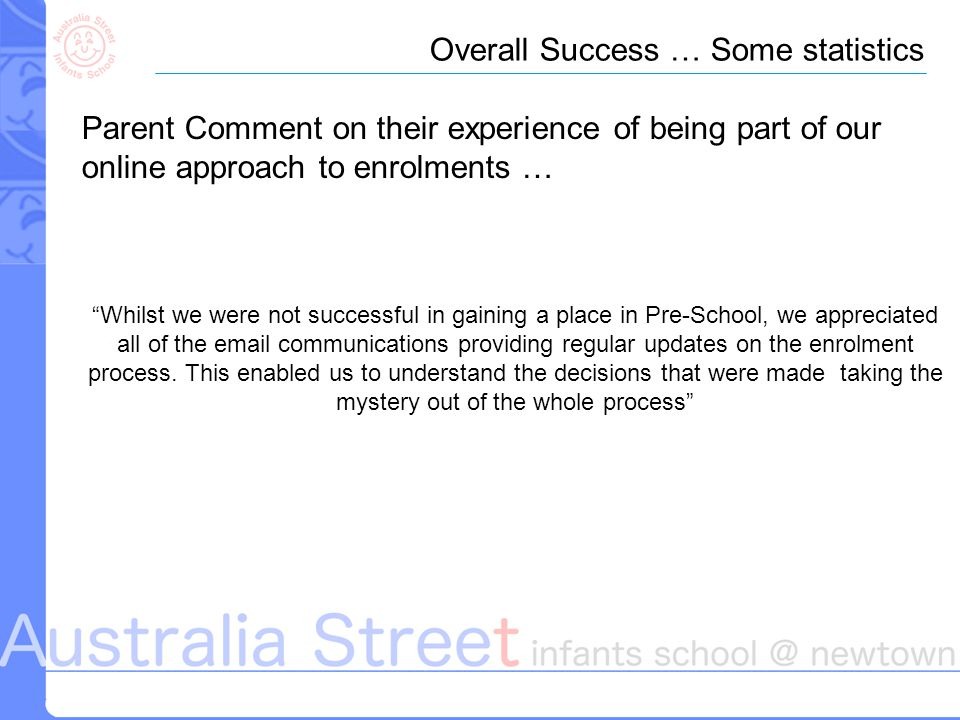 Overall Success … Some statistics Parent Comment on their experience of being part of our online approach to enrolments … Whilst we were not successful in gaining a place in Pre-School, we appreciated all of the email communications providing regular updates on the enrolment process.