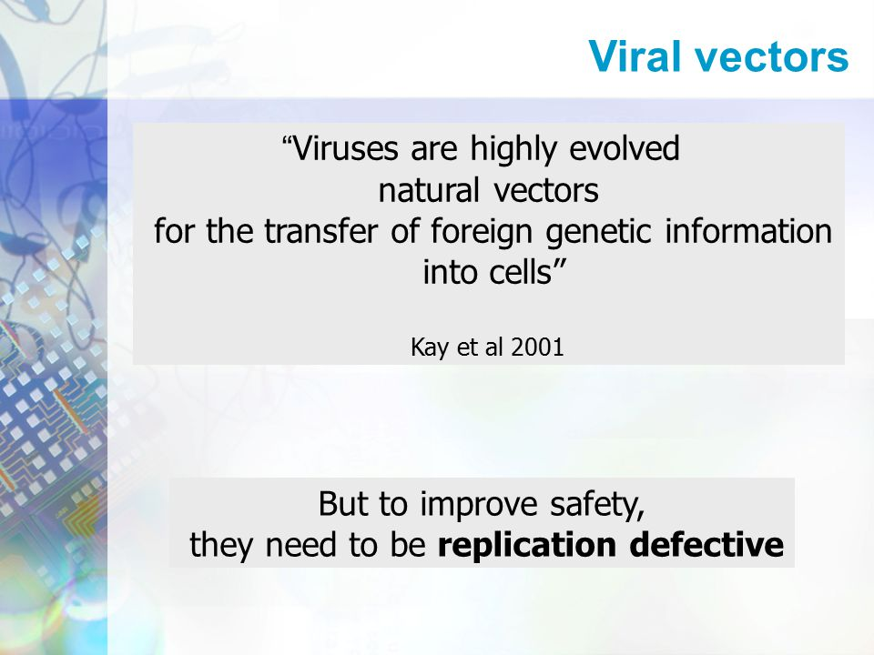 Viruses are highly evolved natural vectors for the transfer of foreign genetic information into cells Kay et al 2001 But to improve safety, they need to be replication defective Viral vectors