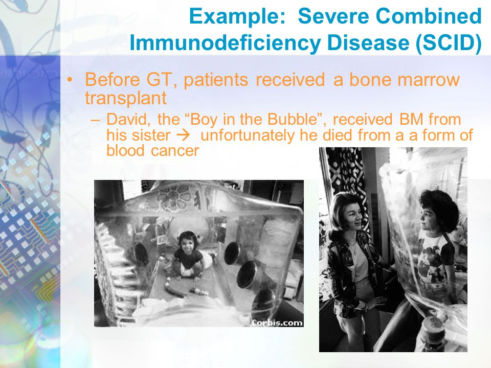 Example: Severe Combined Immunodeficiency Disease (SCID) Before GT, patients received a bone marrow transplant –David, the Boy in the Bubble , received BM from his sister  unfortunately he died from a a form of blood cancer