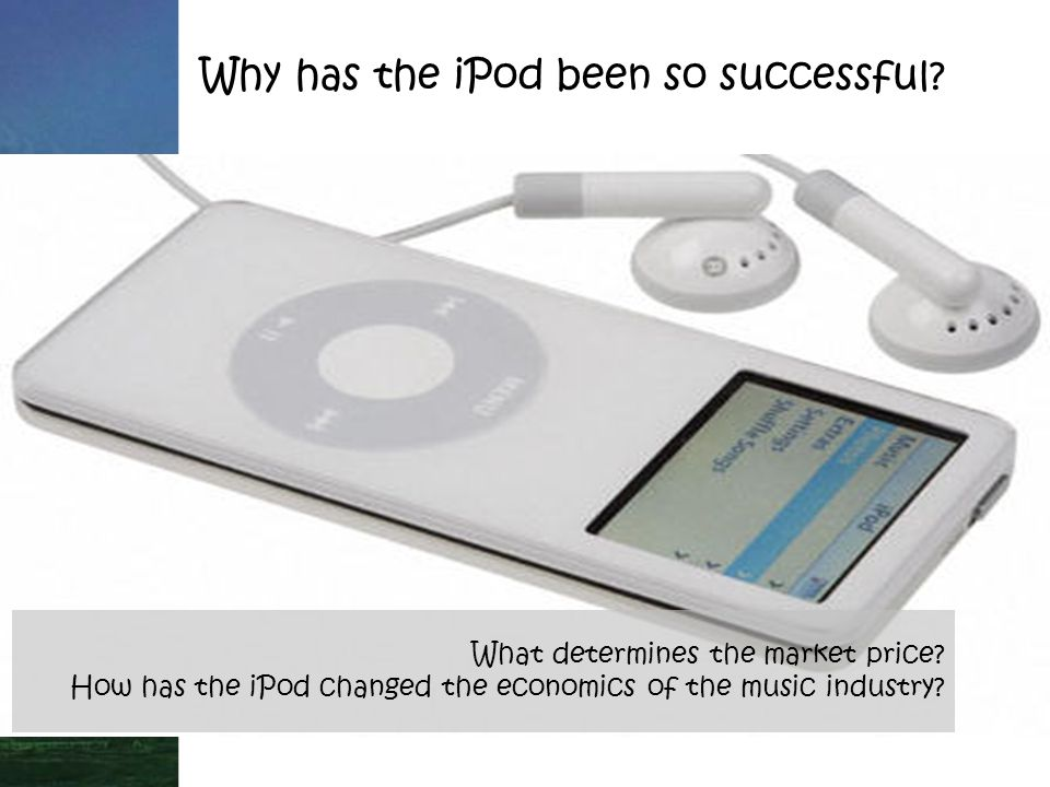 Why has the iPod been so successful. What determines the market price.