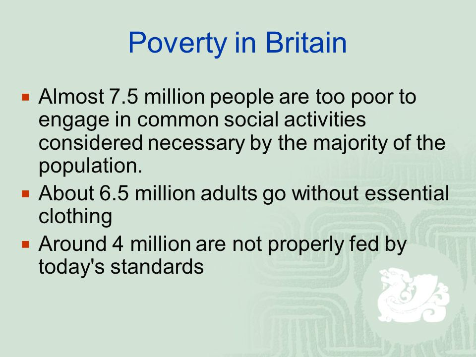 A3 WELFARE IN BRITAIN — THE PRESENT  The three main areas of welfare provision in Britain are health, housing and social security  The post-war welfare structure has always been a combination of public and private provision  From the 1980s those who could afford to have been encouraged to provide for their own health and retirement by paying into private insurance schemes.