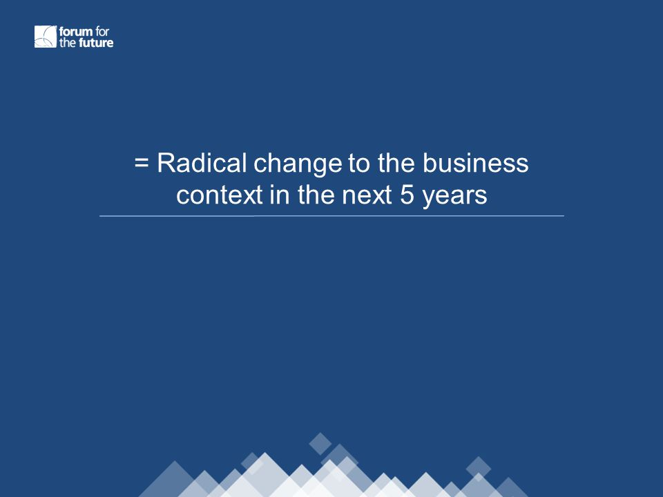 = Radical change to the business context in the next 5 years