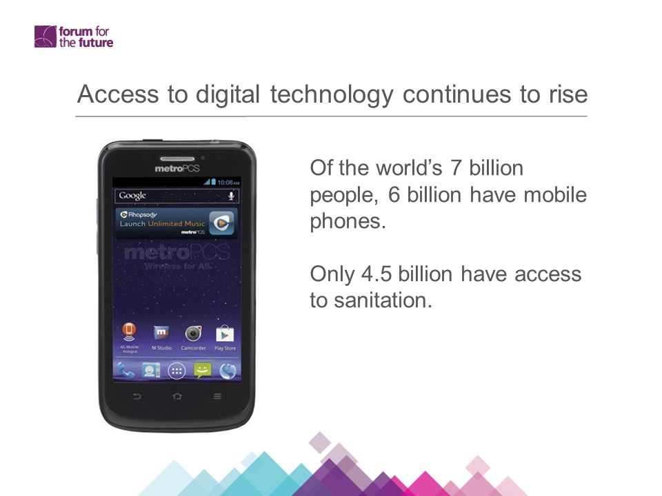 Access to digital technology continues to rise Of the world's 7 billion people, 6 billion have mobile phones.