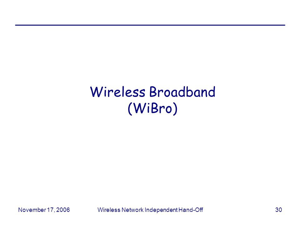 November 17, 2006Wireless Network Independent Hand-Off30 Wireless Broadband (WiBro)