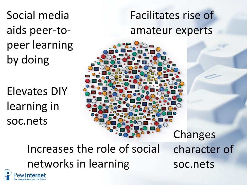 Social media aids peer-to- peer learning by doing Elevates DIY learning in soc.nets Increases the role of social networks in learning Facilitates rise