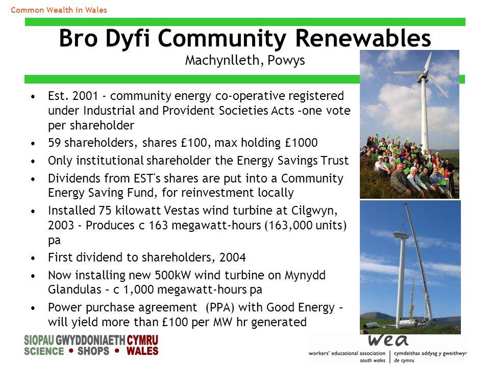 Bro Dyfi Community Renewables Machynlleth, Powys Est.