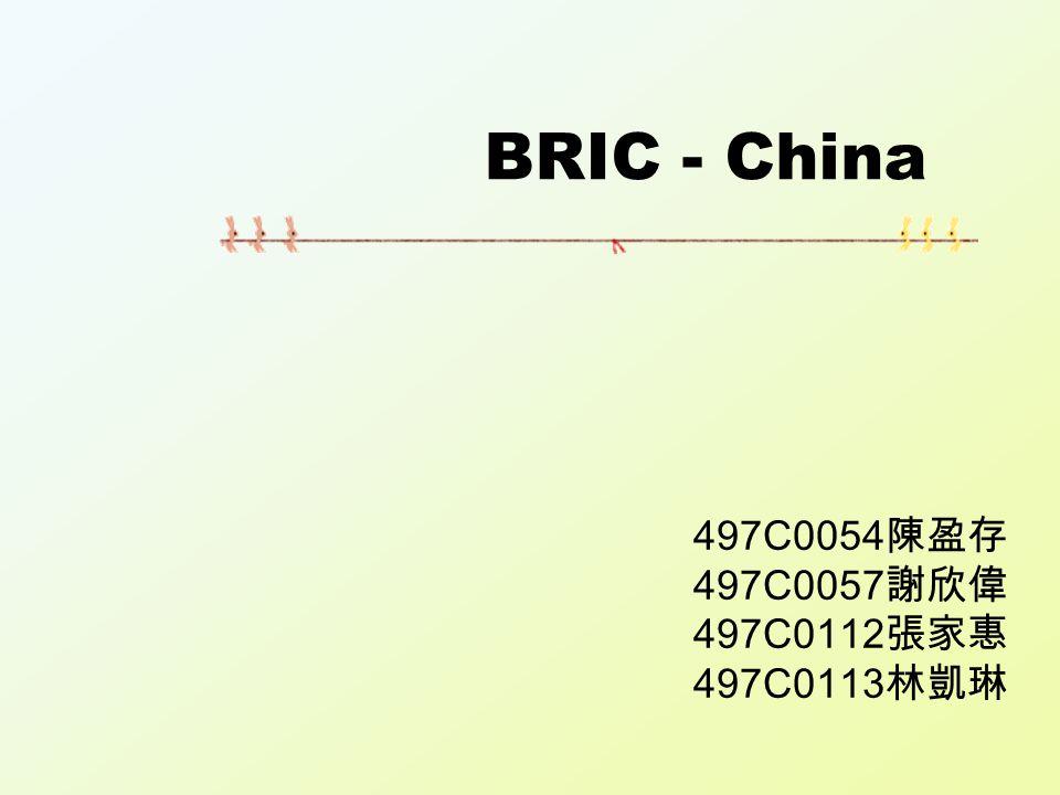 BRIC - China 497C0054 陳盈存 497C0057 謝欣偉 497C0112 張家惠 497C0113 林凱琳
