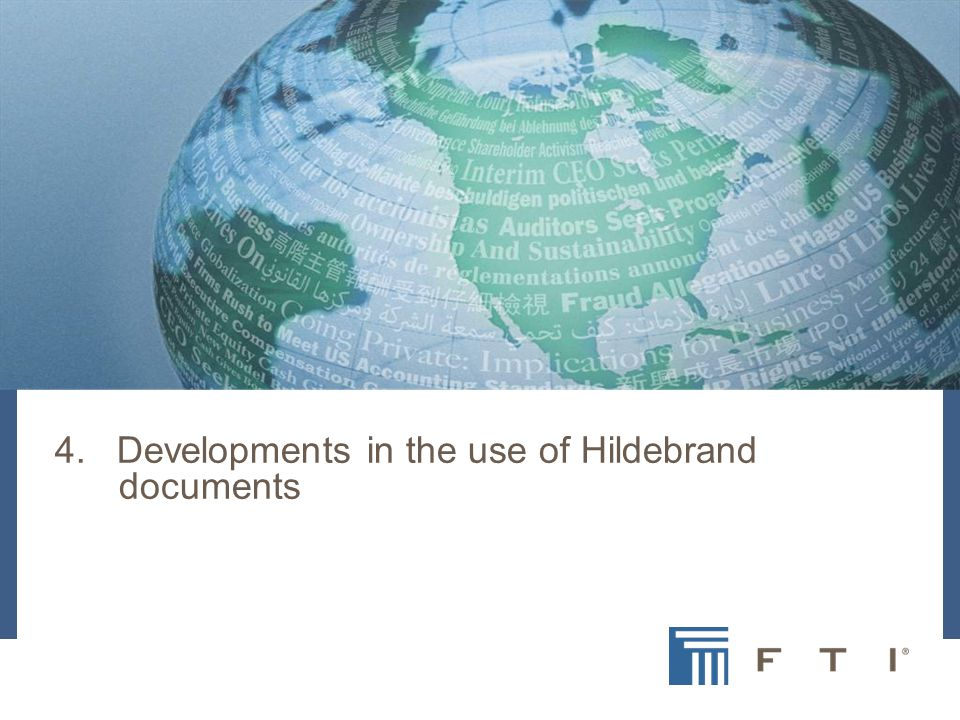 4. Developments in the use of Hildebrand documents
