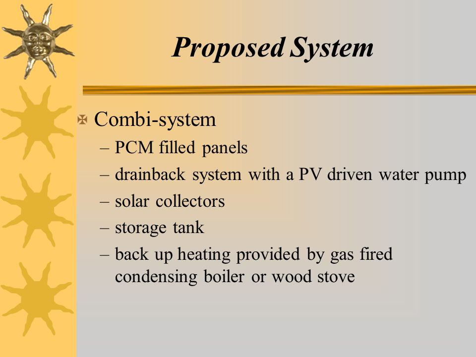 Proposed System X Combi-system –PCM filled panels –drainback system with a PV driven water pump –solar collectors –storage tank –back up heating provided by gas fired condensing boiler or wood stove