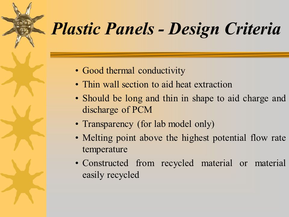Plastic Panels - Design Criteria Good thermal conductivity Thin wall section to aid heat extraction Should be long and thin in shape to aid charge and discharge of PCM Transparency (for lab model only) Melting point above the highest potential flow rate temperature Constructed from recycled material or material easily recycled
