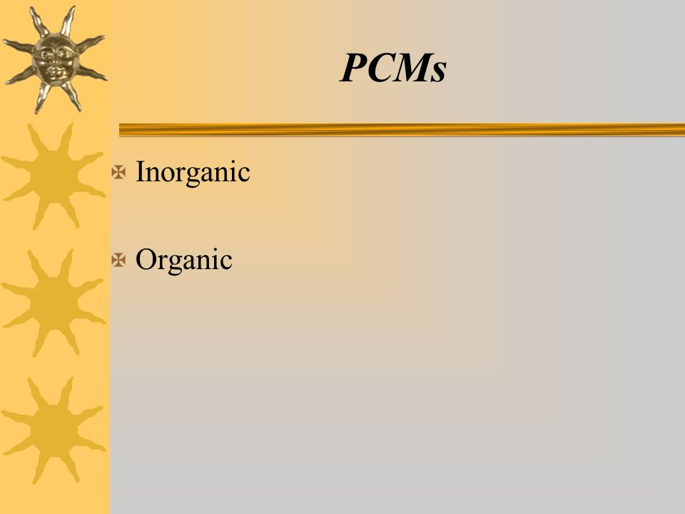 PCMs X Inorganic X Organic