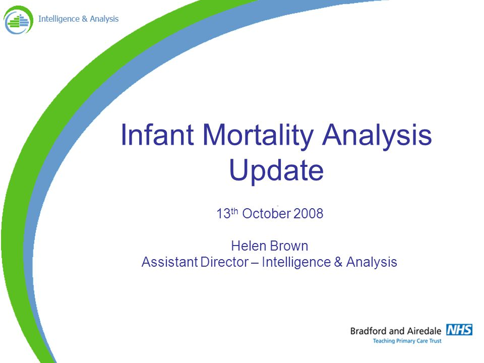 Infant Mortality Analysis Update 13 th October 2008 Helen Brown Assistant Director – Intelligence & Analysis