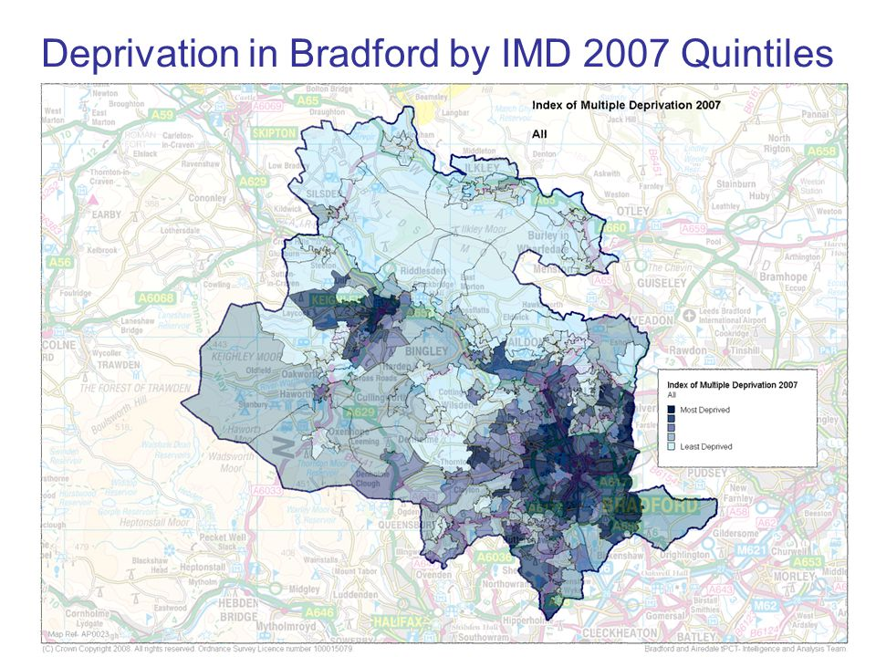 Deprivation in Bradford by IMD 2007 Quintiles
