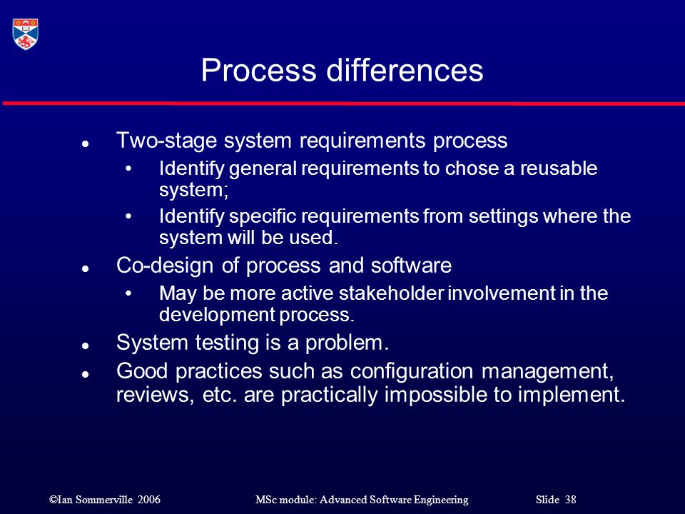 ©Ian Sommerville 2006MSc module: Advanced Software Engineering Slide 38 Process differences l Two-stage system requirements process Identify general r