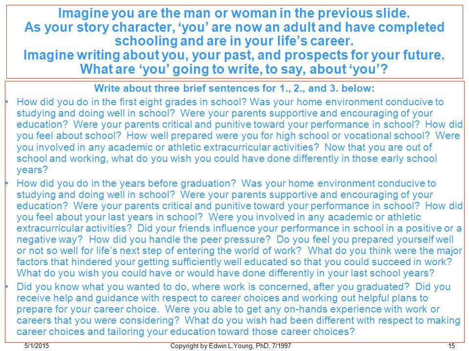 5/1/2015Copyright by Edwin L.Young, PhD, 7/199715 Imagine you are the man or woman in the previous slide.