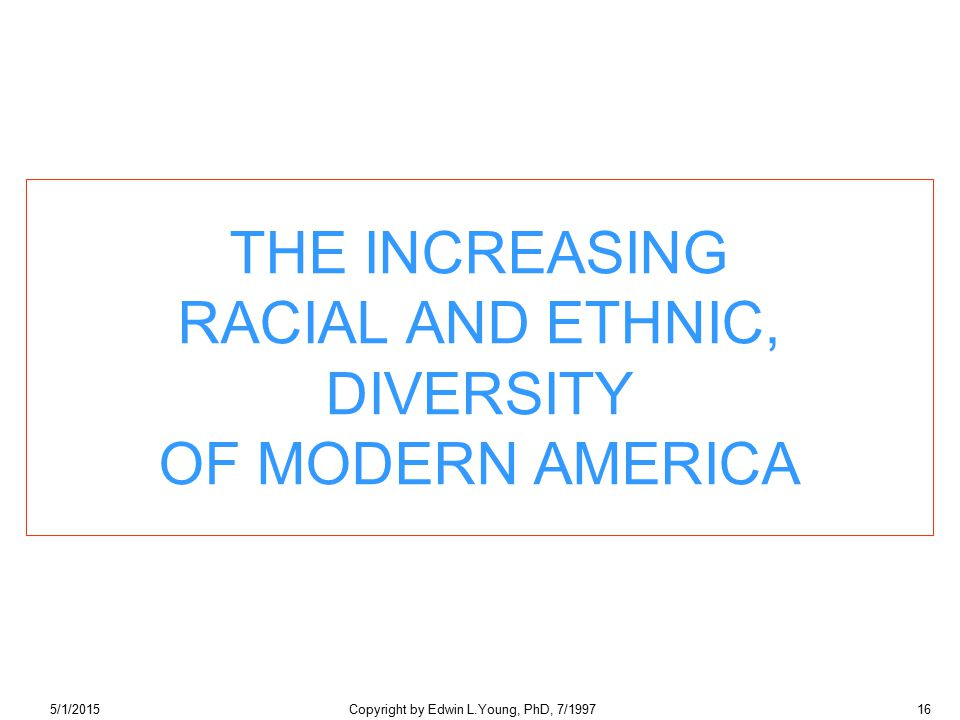 5/1/2015Copyright by Edwin L.Young, PhD, 7/199716 THE INCREASING RACIAL AND ETHNIC, DIVERSITY OF MODERN AMERICA