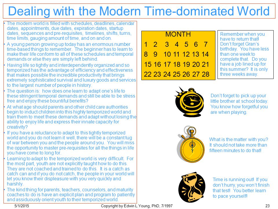5/1/2015Copyright by Edwin L.Young, PhD, 7/199723 Dealing with the Modern Time-dominated World The modern world is filled with schedules, deadlines, calendar dates, appointments, due dates, expiration dates, startup dates, sequences and pre-requisites, timelines, shifts, turns, time limits, gauging amount of time, and on and on.