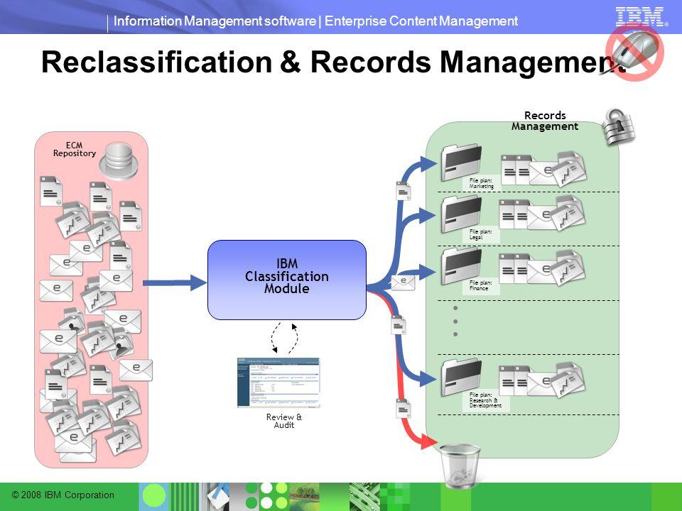 © 2008 IBM Corporation Information Management software | Enterprise Content Management Reclassification & Records Management File plan: Legal File plan: Marketing File plan: Finance File plan: Research & Development...
