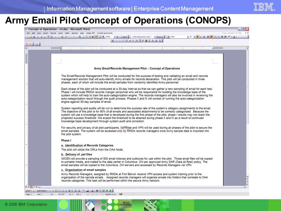 © 2008 IBM Corporation Information Management software | Enterprise Content Management Army Email Pilot Concept of Operations (CONOPS)