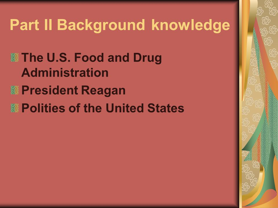 Part II Background knowledge The U.S.