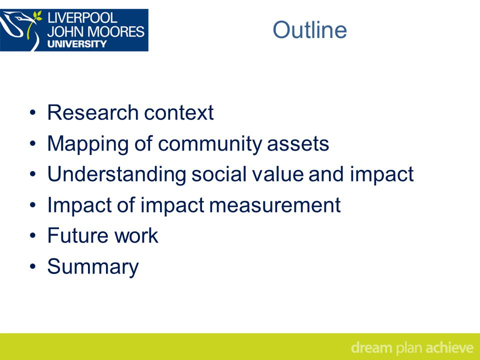 Research context Mapping of community assets Understanding social value and impact Impact of impact measurement Future work Summary Outline