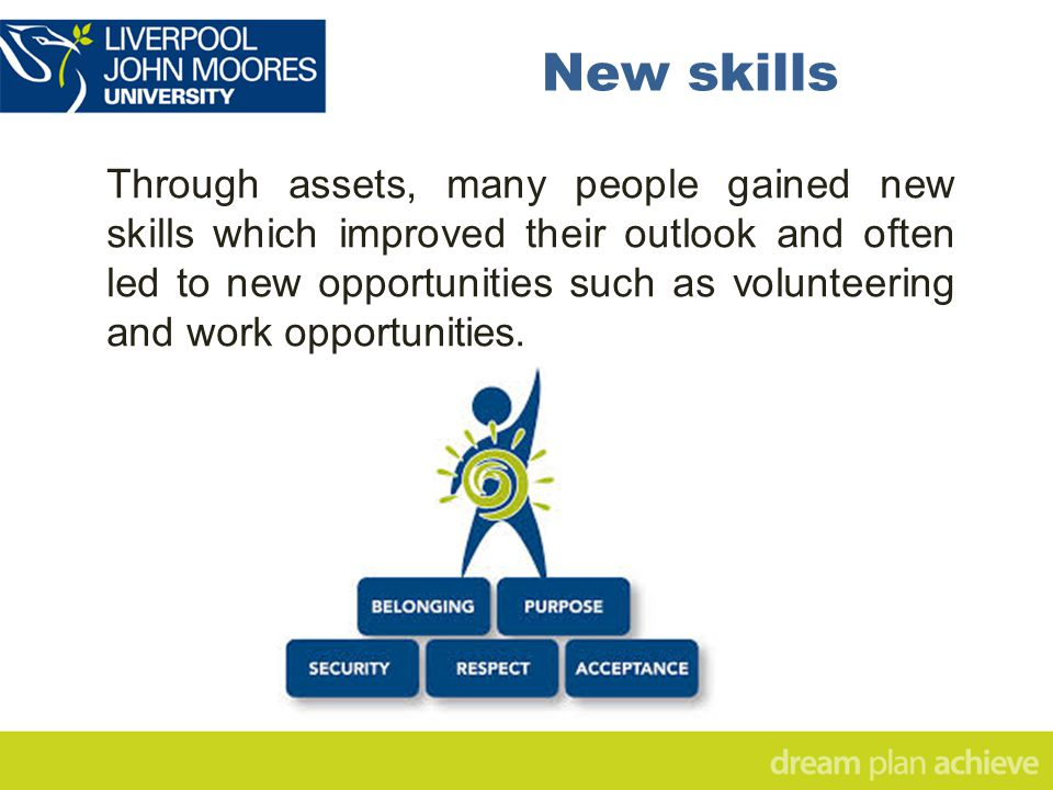 New skills Through assets, many people gained new skills which improved their outlook and often led to new opportunities such as volunteering and work opportunities.