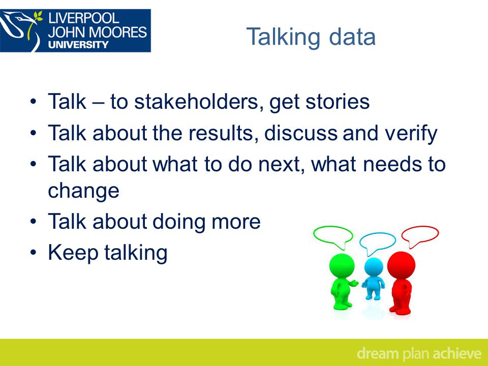 Talking data Talk – to stakeholders, get stories Talk about the results, discuss and verify Talk about what to do next, what needs to change Talk about doing more Keep talking