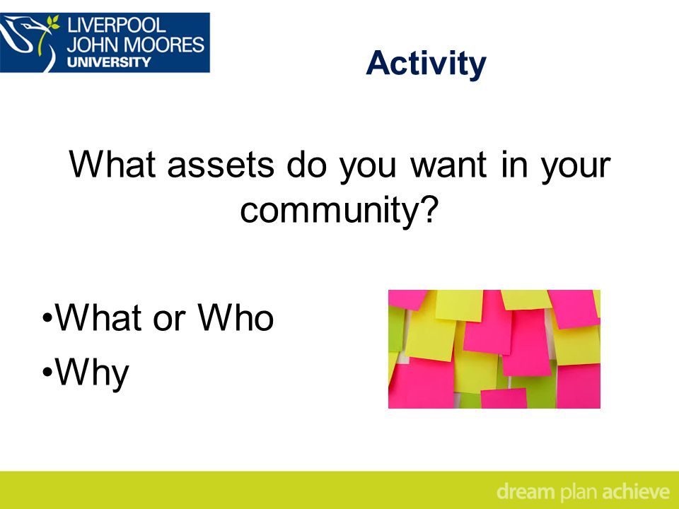 Activity What assets do you want in your community What or Who Why