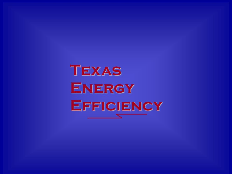 Goals Texas Energy Efficiency 2002: 5% of Load Growth12.6 MW 2003: 10% of Load Growth21.2 MW 2004: 10% of Load Growth18.6 MW