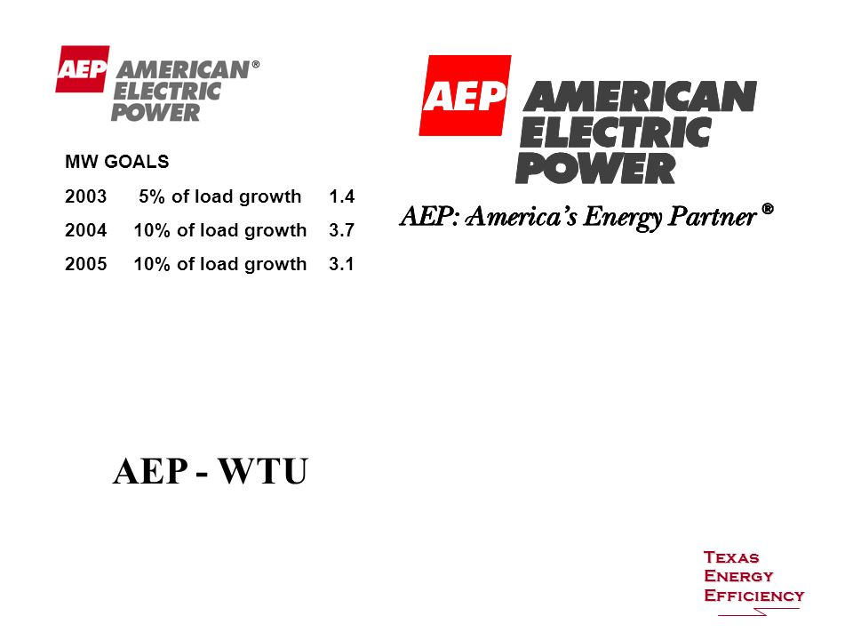 Texas Energy Efficiency MW GOALS 2003 5% of load growth 1.4 2004 10% of load growth 3.7 2005 10% of load growth 3.1 AEP - WTU