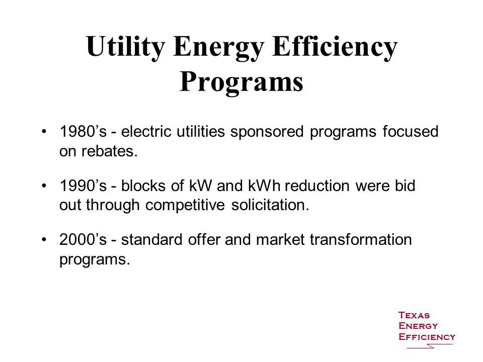 Utility Energy Efficiency Programs 1980's - electric utilities sponsored programs focused on rebates. 1990's - blocks of kW and kWh reduction were bid