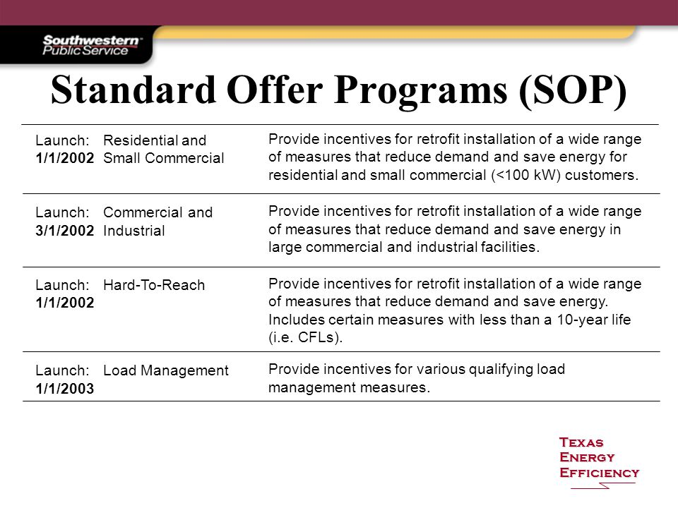 Texas Energy Efficiency Standard Offer Programs (SOP) Launch:Residential and 1/1/2002Small Commercial Launch:Commercial and 3/1/2002Industrial Launch:Hard-To-Reach 1/1/2002 Launch:Load Management 1/1/2003 Provide incentives for retrofit installation of a wide range of measures that reduce demand and save energy for residential and small commercial (<100 kW) customers.